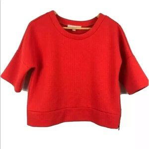 Loft Boxy Embossed Top Red Cropped Zipper Sides